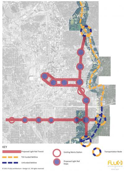 Proposed light rail including Beltline and Atlanta Street Car